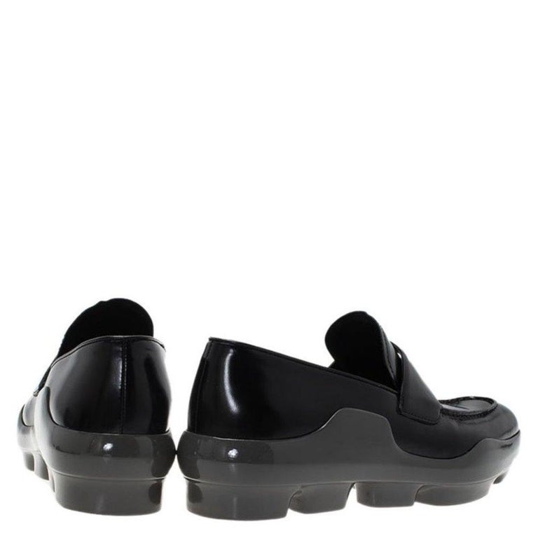 Prada Black Leather Platform Penny Loafers Size 39 For Sale 1