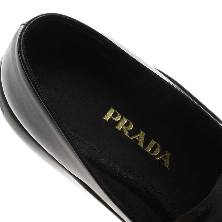 Prada Black Leather Platform Penny Loafers Size 39 For Sale 3