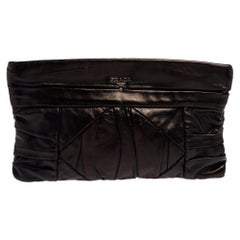 Prada Black Leather Pleated Clutch