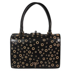 Prada Black Leather Purse with Gold Grommets