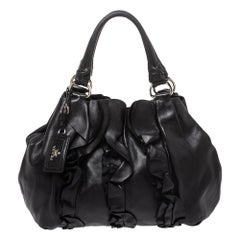 Prada Black Leather Ruffle Mordore Hobo
