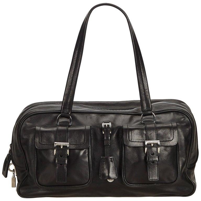 c1a2d6d92f91 Prada Black Leather Metal Top Handle Bar 2 in 1 Clutch Shoulder Bag.  HomeFashionHandbags and PursesShoulder Bags. Prada Black Leather Shoulder  Bag For Sale