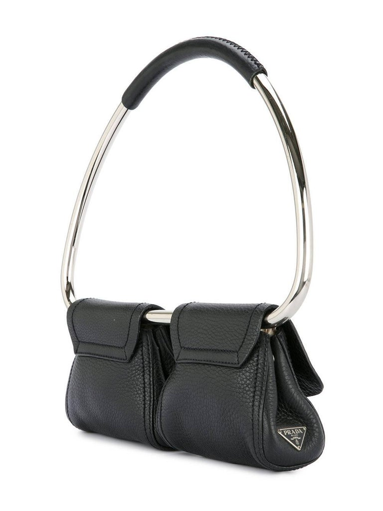 984586e8f759 Women's Prada Black Leather Silver 2 in 1 Evening Hoop Top Handle Satchel  Bag For Sale
