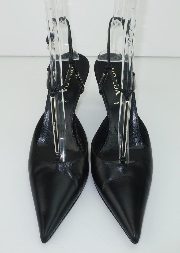 Prada Black Leather Silver Logo T Strap Shoes, Sz 38 In Good Condition For Sale In Atlanta, GA