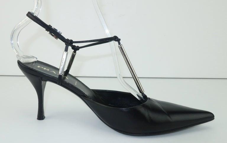 Prada Black Leather Silver Logo T Strap Shoes, Sz 38 For Sale 1