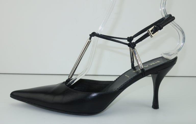Prada Black Leather Silver Logo T Strap Shoes, Sz 38 For Sale 3