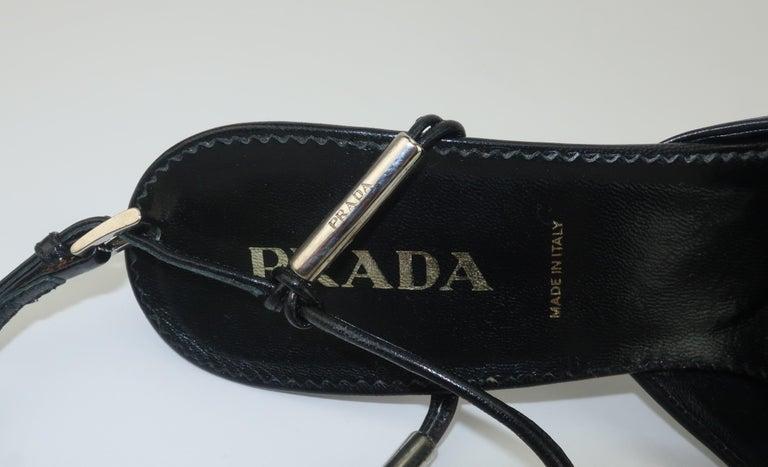 Prada Black Leather Silver Logo T Strap Shoes, Sz 38 For Sale 5