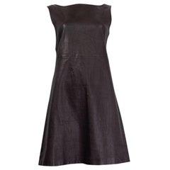 PRADA black leather SLEEVELESS SHIFT Dress 46 XL