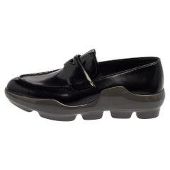 Prada Black Leather Slip On Loafers Size 38