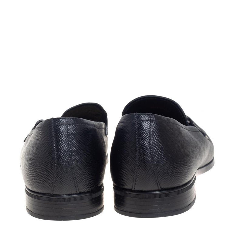 Men's Prada Black Leather Slip On Loafers Size 40 For Sale