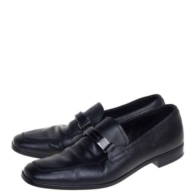Prada Black Leather Slip On Loafers Size 40 For Sale 1