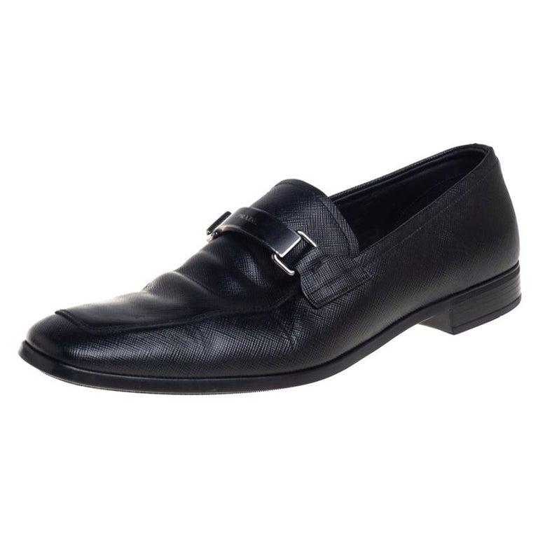 Prada Black Leather Slip On Loafers Size 40 For Sale