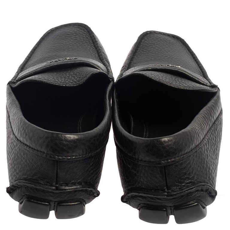 Men's Prada Black Leather Slip On Loafers Size 42 For Sale