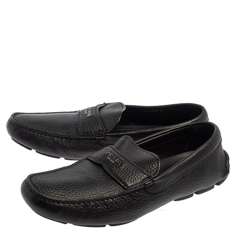 Prada Black Leather Slip On Loafers Size 42 For Sale 1