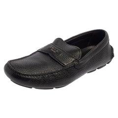 Prada Black Leather Slip On Loafers Size 42