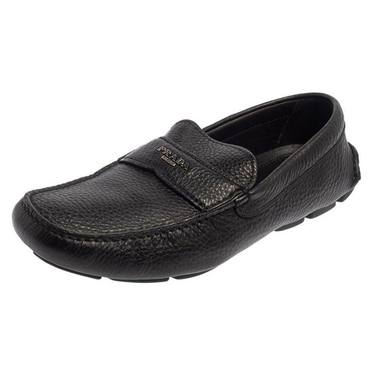 Prada Black Leather Slip On Loafers Size 42 For Sale