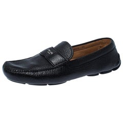 Prada Black Leather Slip On Loafers Size 43.5