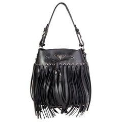 PRADA black leather SOFT FRINGE BUCKET Shoulder Bag