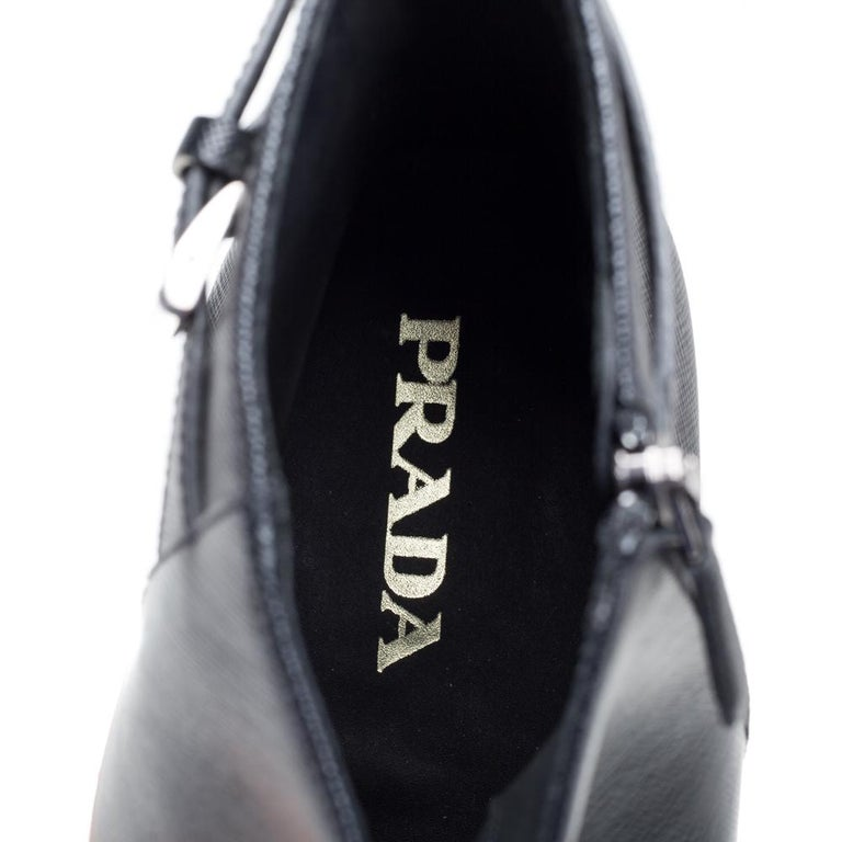 Prada Black Leather Square Toe Boots Size 46 For Sale 1