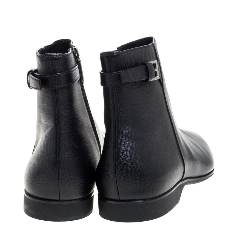 Prada Black Leather Square Toe Boots Size 46 For Sale 3