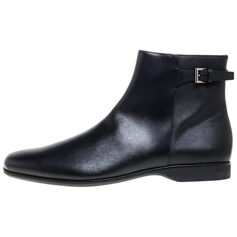 Prada Black Leather Square Toe Boots Size 46 For Sale
