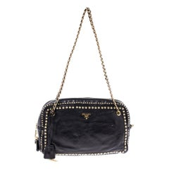 Prada Black Leather Studded Chain Shoulder Bag