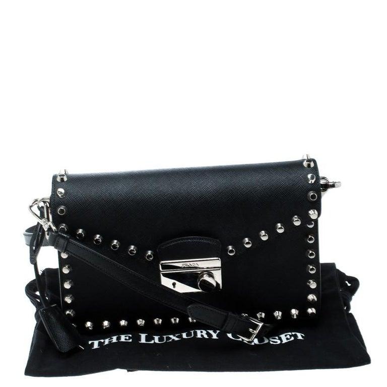a27c0967f1307b Prada Black Leather Studded Shoulder Bag For Sale at 1stdibs