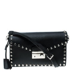 Prada Black Leather Studded Shoulder Bag