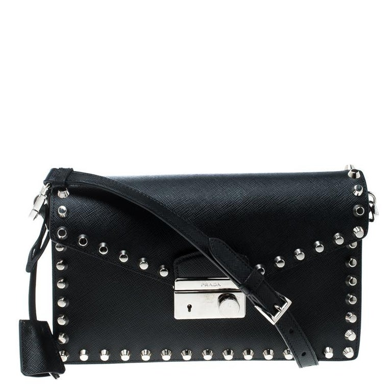 ae9cfe8c78ac Prada Black Leather Studded Shoulder Bag For Sale at 1stdibs