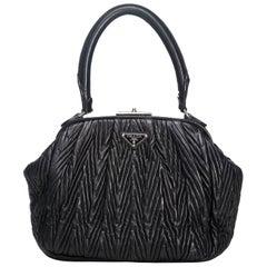 Prada Black  Leather Textured Handbag Italy w/ Dust Bag