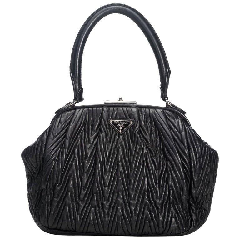 8b4ce4fb87d89e Prada Black Leather Textured Handbag Italy w/ Dust Bag For Sale at ...