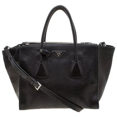 Prada Black Leather Twin Pocket Double Handle Tote