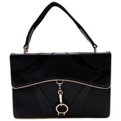 Prada Black Leather Vintage Small Top Handle Bag