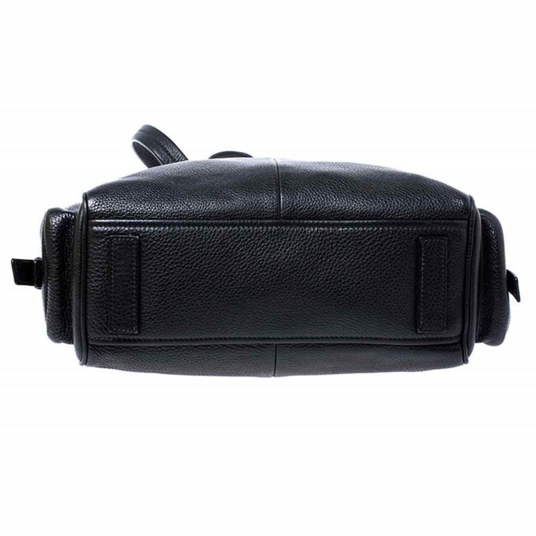 Prada Black Leather Vitello Daino Side Pocket Shoulder Bag For Sale 1