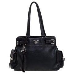 Prada Black Leather Vitello Daino Side Pocket Shoulder Bag