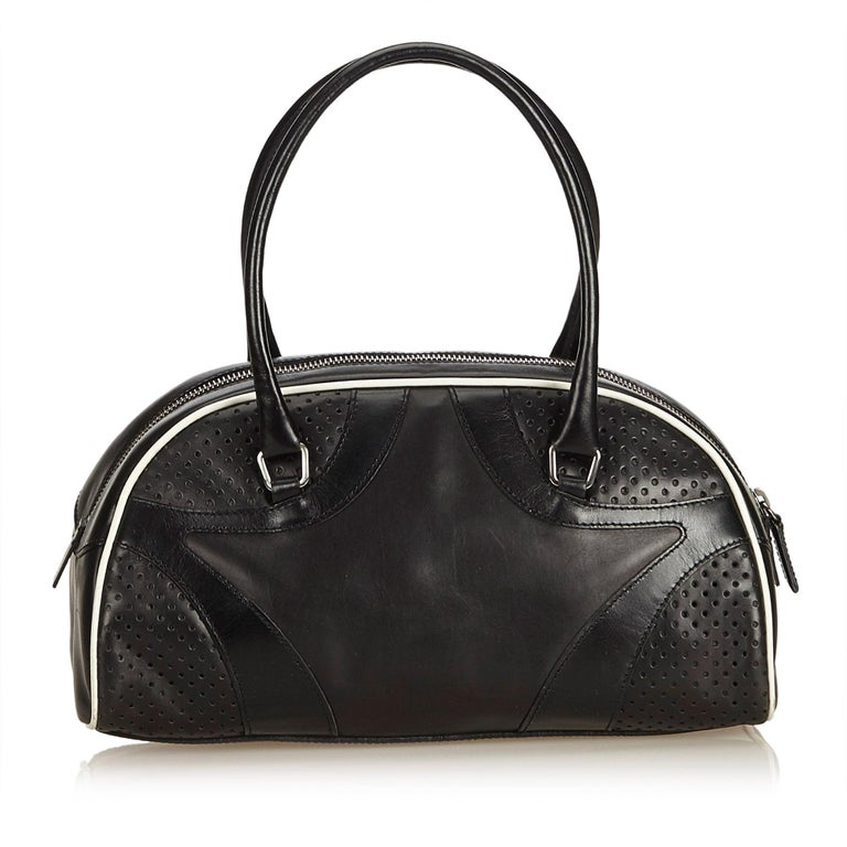 31445c3a50a627 Prada Black Leather Vitello Drive Perforated Bowling Bag In Good Condition  For Sale In Orlando,