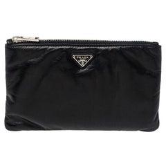 Prada Black Leather Zip Pouch