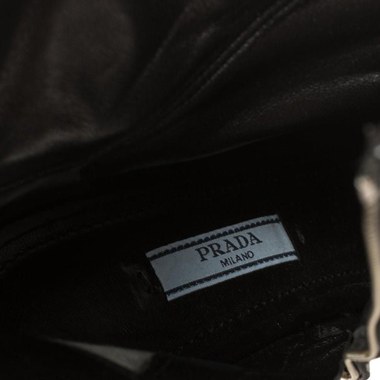 Prada Black Leather Zipper Detail Ankle Boots Size 39.5 For Sale 2
