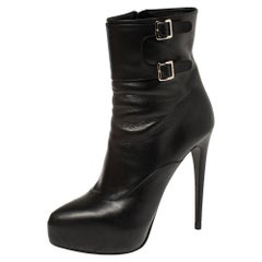 Prada Black Leather Zipper Detail Ankle Boots Size 39.5