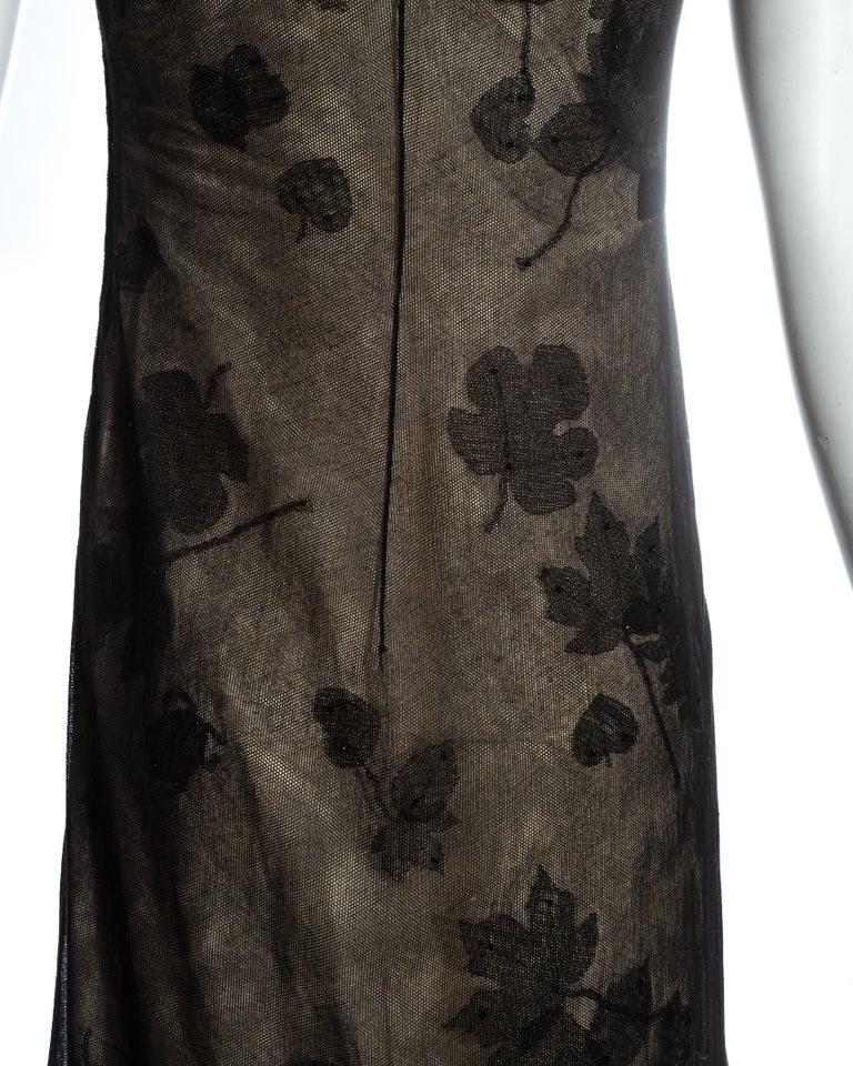 Black Prada black mesh maxi dress with beading and appliquéd fabric leaves, fw 1999 For Sale