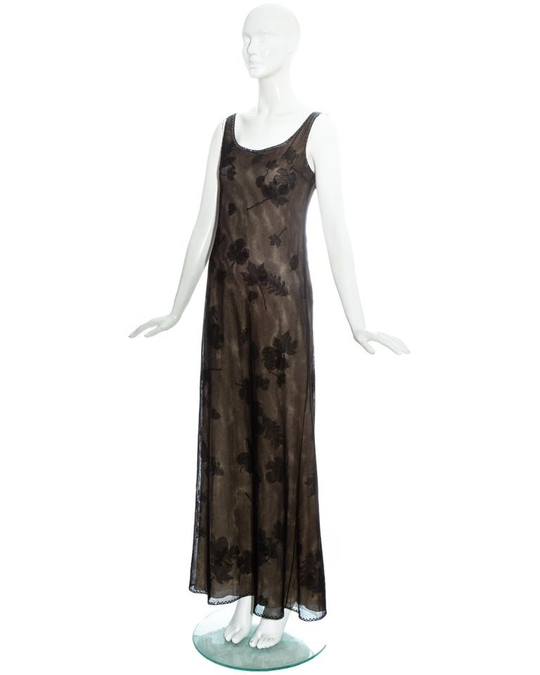 Prada black mesh maxi dress with beading and appliquéd fabric leaves, fw 1999 In Good Condition For Sale In London, GB