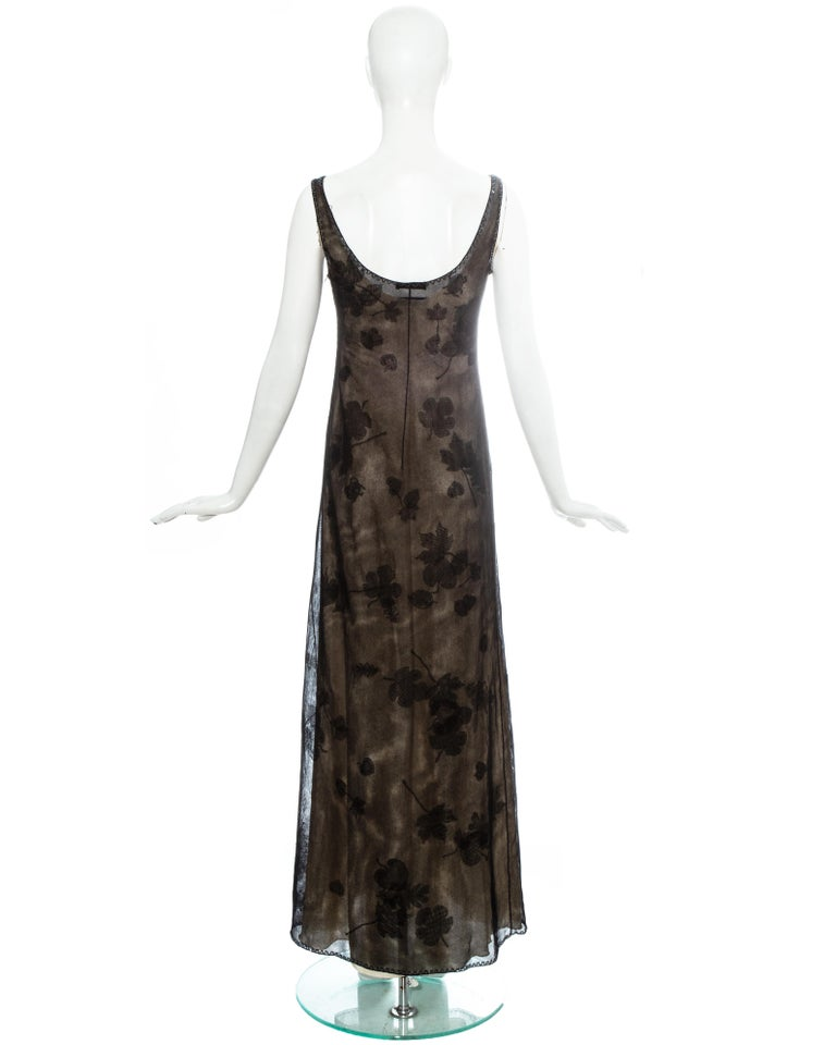 Prada black mesh maxi dress with beading and appliquéd fabric leaves, fw 1999 For Sale 2