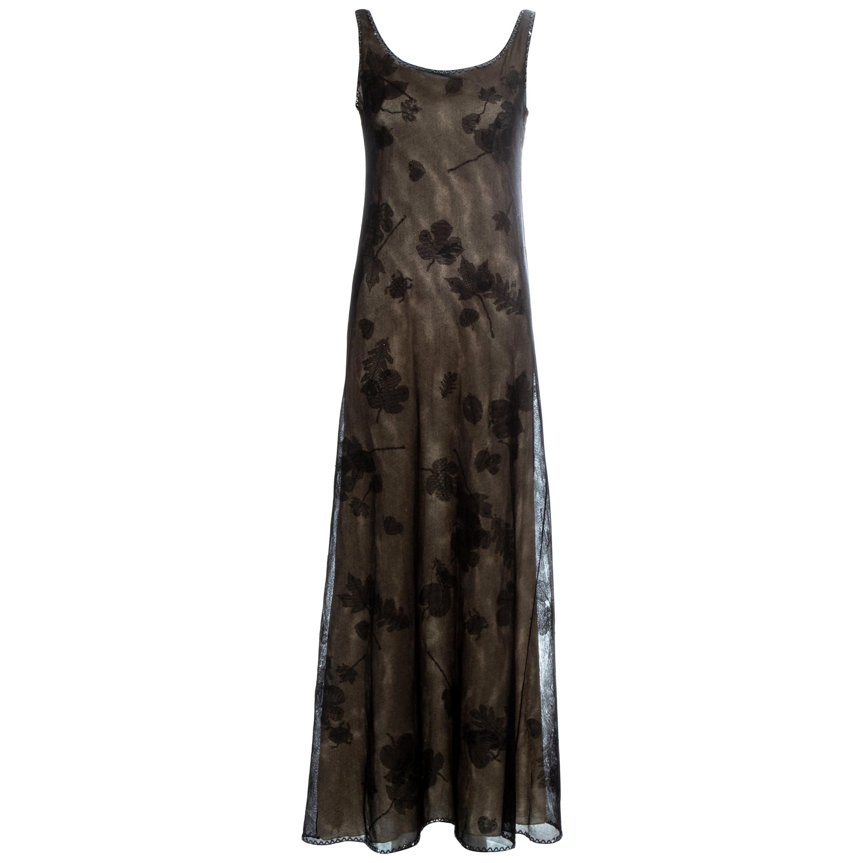 Prada black mesh maxi dress with beading and appliquéd fabric leaves, fw 1999