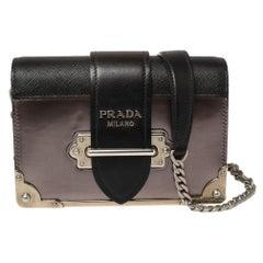 Prada Black/Metallic Saffiano Lux and Patent Leather Cahier Shoulder Bag