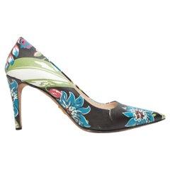 Prada Black & Multicolor Floral Print Pointed-Toe Pumps