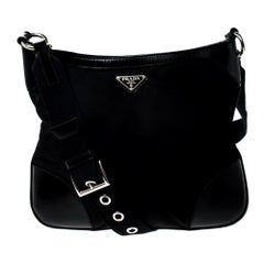 Prada Black Nylon and Leather Crossbody Bag
