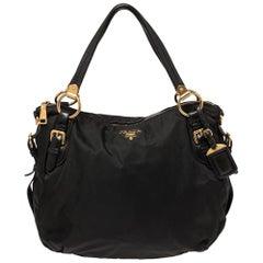 Prada Black Nylon and Leather Zip Shoulder Bag