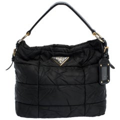 Prada Black Nylon and Patent Leather Hobo