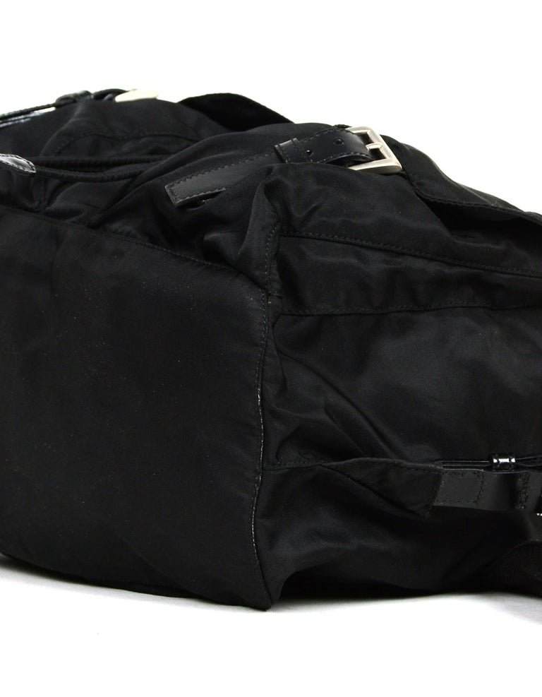 Prada Black Nylon Backpack Bag with Two Front Buckle Pockets For Sale 1