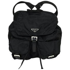 Prada Black Nylon Backpack Bag with Two Front Buckle Pockets